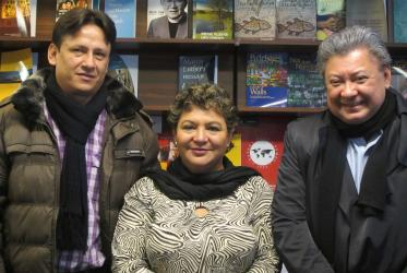 From left to right: Renzo Alexander Garcia Parra, Doris Acosta and Stanley Rodriguez at the Ecumenical Centre in Geneva.