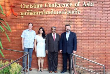 (Left to right) Mr. Jim Winkler, Dr. Ani Ghazaryan Drissi, Dr. Mathews George Chunakara and Rev. Dr. Daniel Buda. Photo: courtesy of CCA