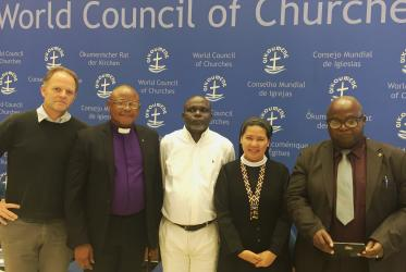 (l to r) Fraser Murray, Rev. Dr Paul Mpongo, Prof. Dr Bila Isia Inogwabini, Sister Stella Matutina, Mr Félicien Malanda participated in panel discussions focusing on land rights. © Semegnish Asfaw/WCC