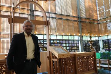 Rev. Dr Shanta Premawardhana at the Ecumenical Centre chapel in Geneva. Photo: Camille Vianin/WCC