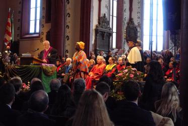 Friends and colleagues celebrate Mercy Amba Oduyoye's honorary degree from Basel University. © Esther R. Suter/WCC