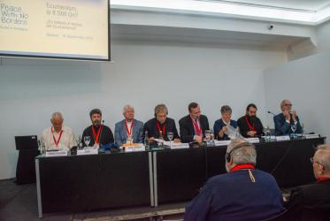 Panel gathered to explore the question 'Ecumenism: is it still on?'. Photo courtesy of Sant'Egidio