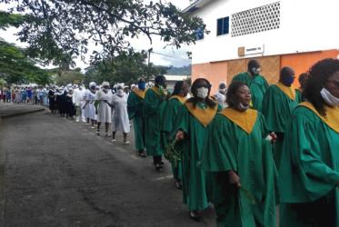 Christians of the Fako South Presbytery (Limbe) marching during the launching of the International Day of Peace 2020. Photo: Presbyterian Church in Cameroon
