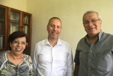 Executive director Hussam Elias (middle), Secretary Jorjet Haddad (left) and Chairperson Farah Geraisy. © Claus Grue/WCC