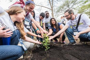Students of GETI 2018 plant trees as part of a Service Learning day in their study programme in Arusha, Tanzania. Photo: Albin Hillert/WCC