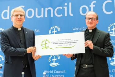 Rev. Dr Olav Fykse Tveit, WCC general secretary and Rev. Dr Andrzej Choromanski of the Pontifical Council for Promoting Christian Unity. Photo: Albin Hillert/WCC
