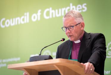 Archbishop Emeritus Dr Anders Wejryd, speaking at WCC Central Committee, June 2018. Photo: Albin Hillert/WCC