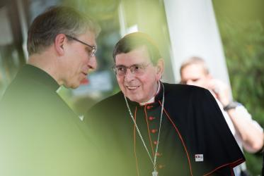 Rev. Dr Olav Fykse Tveit, WCC general secretary and Cardinal Koch, president of the Pontifical Council for Promoting Christian Unity at the Ecumenical center. Photo: Albin Hillert/WCC