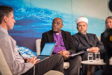 Bishop Arnold Temple speaks at World Water Week alongside Mufti Mohammad Zoubi. Photo: Albin Hillert/WCC