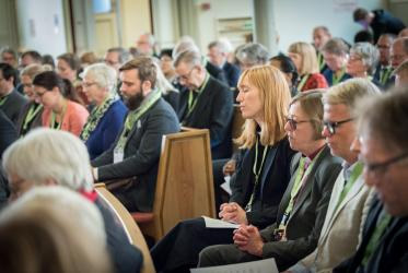 Participants in the ecumenical weekend gather for a moment of prayer. Photo: Albin Hillert/WCC