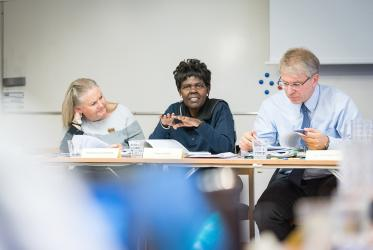 WCC moderator Dr Agnes Abuom speaks at Executive Committee in Uppsala, Sweden. Photo: Albin Hillert/WCC