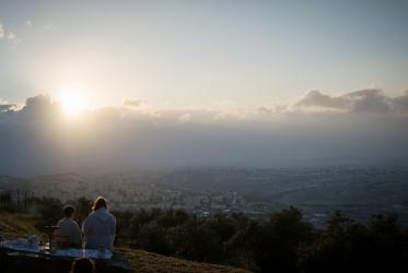 Easter Sunday sunrise service on the Mount of Olives in Jerusalem, held by the Lutheran Church of the Redeemer. Photo: Albin Hillert/WCC, 2019