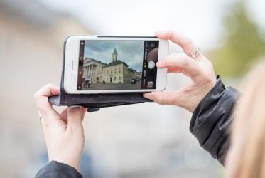 Photographing the Evangelische Stadtkirche Karlsruhe, in the centre of the city of Karlsruhe, Germany. All photos: Albin Hillert/WCC