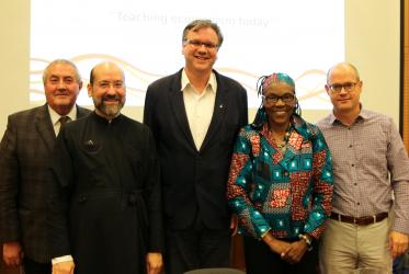 WCC deputy general secretary Fr. Ioan Sauca (left) and the speakers of the panel in Bossey. Photo: Marcelo Schneider/WCC