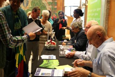An audience of 50 ecumenical enthusiasts gathered at the Ecumenical Centre on Friday. Photo: Marcelo Schneider/WCC