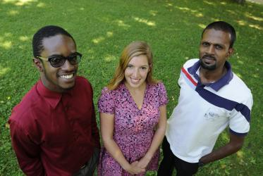 From left to right: Tariq Abdul Akbar, Liron Alkolombra and Mark Edwards, students in the WCC interfaith summer course. © WCC/Peter Williams
