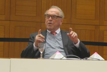 Prof. Dr Jürgen Moltmann at the Ecumenical Center, on January 2016. Photo: Marianne Ejdersten/WCC