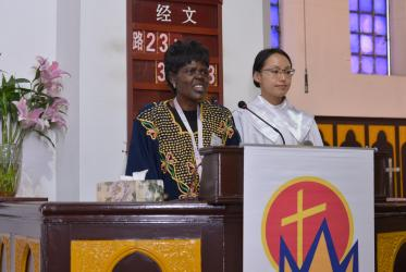 Dr Agnes Abuom during a WCC Executive Committee meeting in China, 2016. Photo: China Christian Council