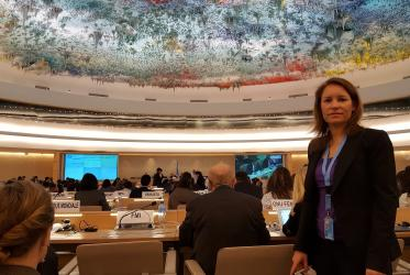 Anne-Marie Vuignier, an advocacy officer from the WCC, delivered the oral statement at the 34th session of the Human Rights Council at the United Nations Office in Geneva. Photo: WCC/Loyola Ranarison