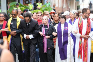 In 2017 clergy took a stand by marching in silent protest through Charlottesville. Photo: Steven D. Martin/NCCUSA 2017