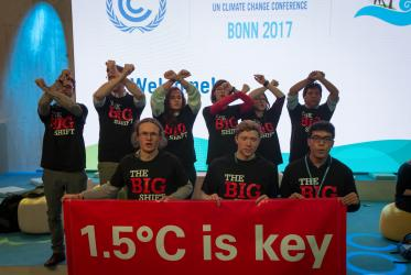 Ecumenical groups and others demonstrate at the 2017 UN climate conference COP23. Photo: Sean Hawkey/WCC