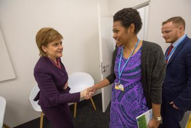 The First Minister of Scotland, Ms. Nicola Sturgeon, meets Ms. Frances Namoumou from the Pacific Conference of Churches, at COP23. ©Sean Hawkey/WCC