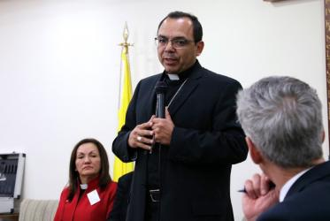 Monsignor Juan Espinoza Jimenez, general secretary of CELAM, welcomed the WCC delegation. Photo: Marcelo Schneider/WCC