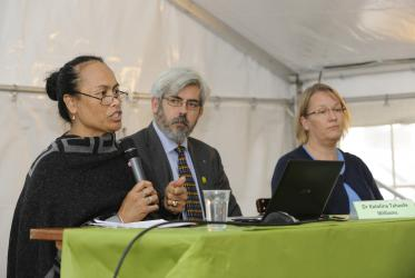 Katalina Tahaafe-Williams (WCC), Rev. Alfredo Abad (CCME) and Maria Immonen (LWF). ©Peter Williams/WCC