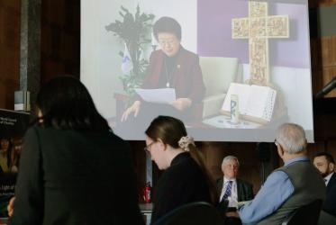 The prayer for peace on Korean peninsula by Rev. Dr Sang Chang, WCC Asia region president from Seoul. Photo: Ivars Kupcis/WCC