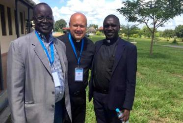 From left: bishop Arkanjelo Wani, general secretary of Sudan Council of Churches, Erhard Hermansen, general secretary of the Christian Council of Norway and Fr. James Oyet Latansio, re-elected secretary general of the SSCC. Photo: SSCC