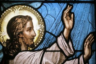 Image of Jesus calming the storm, detail of stained glass in Saint Raphael Catholic Church in Springfield, Ohio. Photo: Nheyob/Wikimedia Commons