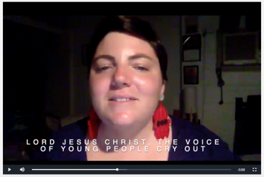 Emily Evans from the Uniting Church in Australia shares an online word of prayer for peace in the Korea peninsula. Photo: screenshot by WCC.