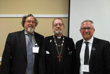 CCC general secretary Peter Noteboom, WCC North American president Bishop Mark MacDonald and Douglas Chial, WCC income manager.