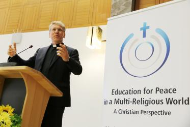 "WCC general secretary Rev. Dr Olav Fykse Tveit addressing the conference ""Promoting Peace Together"". Photo: Ivars Kupcis/WCC"