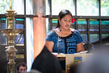 Toai Metanoia Tumaai-Vuaali, one of the young people selected to read and pray with the Pope Francis and WCC leaders during the ecumenical prayer service. Photo: Magnus Aronson/WCC