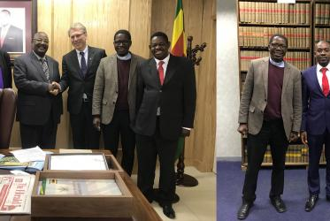 Bishop Lazarus Mpande Khanye, Rev. Dr Olav Fykse Tveit and Rev. Dr Kenneth Mtata meeting with the leaders of Zimbabwe's ruling and opposition parties. Photo: WCC