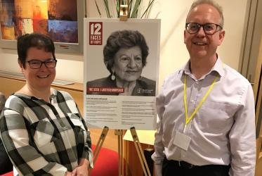"Rev. Branwen Rees and Wales Synod moderator, Rev. Simon Walkling find the exhibition ""12 Faces of Hope"" useful. Photo: URC"