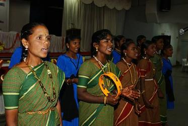 Dalit women singing at the 50th anniversary of the Christian Institute for Study of Religion and Society in Banglore, India, 2007.
