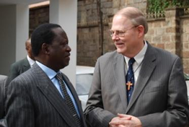 The head of the ecumenical delegation Rev. Clifton Kirkpatrick (right) with the Orange Democratic Movement's Raila Odinga (left). Photo: Juan Michel/WCC Click here for high resolution From left: Kenya's vice-president Kalonzo Musyoka; Canon Peter Karanja, general secretary of the National Council of Churches of Kenya (NCCK); Rev. Clifton Kirkpatrick. Photo: Juan Michel/WCC Click here for high resolution