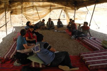 The EWN IRG members interacting with a Bedouin community near Hebron. © Asa Elfstrom/EWN