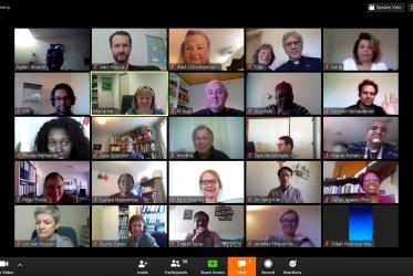 World Council of Churches staff gathered for an online prayer service to bid a farewell to the outgoing WCC general secretary Rev. Dr Olav Fykse Tveit. Photo: online meeting screenshot