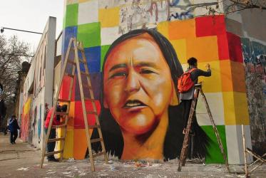 A graffiti of Milagro Sala, by the artist Lumpenbola, in La Plata, claims her freedom. ©Yira!