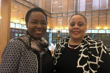 Prof. Dr Isabel Apawo Phiri, deputy general secretary of the WCC and Bernadette Butler, Minister Counsellor at the Permanent Mission of the Commonwealth of the Bahamas to the United Nations in Geneva. Photo: Marianne Ejdersten/WCC