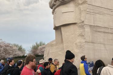 Marchers converged at the Martin Luther King, Jr. memorial in Washington D.C. to march silently and then rallied on the National Mall. Photo: Susan Kim/World Council of Chrurches