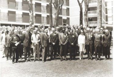 Economist Barbara Ward (first row) addressed the Sodepax conference held in Beirut in April 1968. Photo: WCC