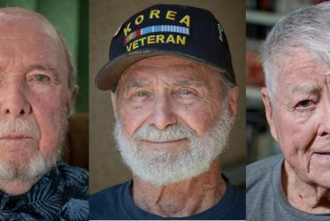 Surviving U.S. veterans of the Korean War Jack Doxey, Stan Levin and Pete McCloskey. Photo: Paul Jeffrey/WCC
