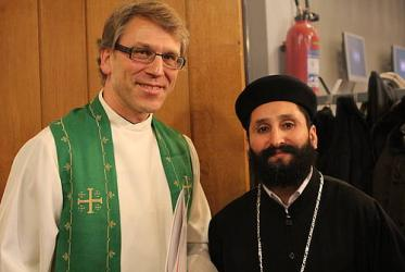 WCC general secretary Rev. Dr Olav Fykse Tveit with Father Mikhail Megally of the Coptic Orthodox congregation in Geneva