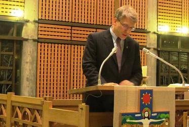 WCC general secretary Olav Fykse Tveit speaking at the Vatican's inter-religious service in the Ecumenical Centre, Geneva.